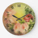 Rosas del Victorian Reloj Redondo Grande