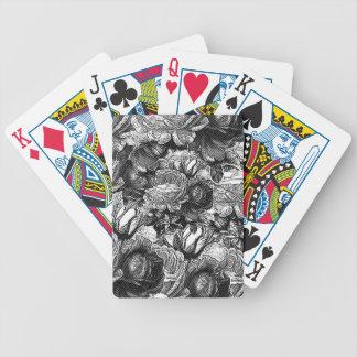 Rosas del vintage de Black&White Baraja Cartas De Poker