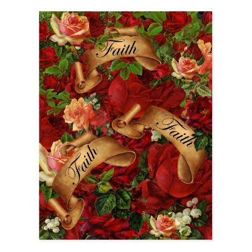 Rosas del vintage de la fe postales