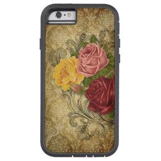 Rosas del vintage en el damasco del oro funda de iPhone 6 tough xtreme