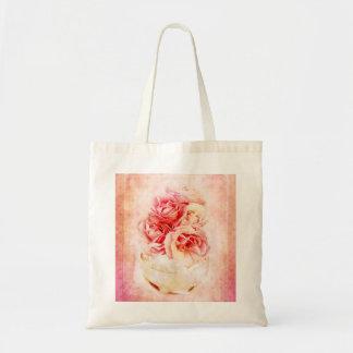 Rosas del vintage en el florero bolsa tela barata