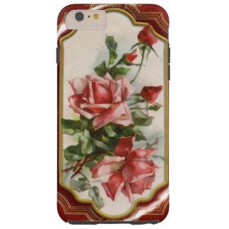 Rosas del vintage en rojo y marco del esmalte del funda de iPhone 6 plus tough