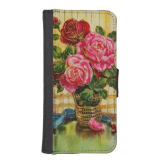Rosas del vintage en un florero billetera para iPhone 5