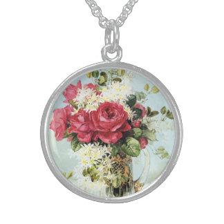 Rosas del vintage frescos del jardín collar de plata de ley