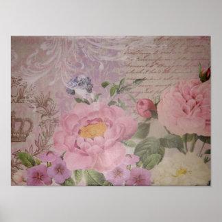 Rosas del vintage hermoso y flores rosados y azule póster