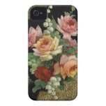 Rosas del vintage iPhone 4 Case-Mate carcasas
