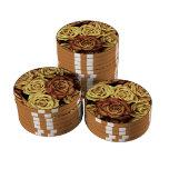 Rosas del vintage juego de fichas de póquer