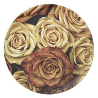 Rosas del vintage para su color de rosa platos para fiestas