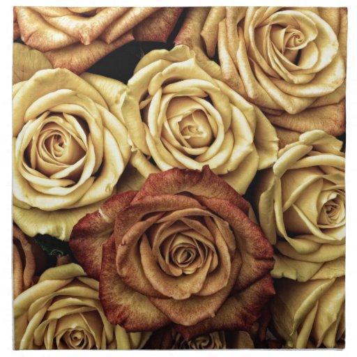 Rosas del vintage para su color de rosa servilleta de papel