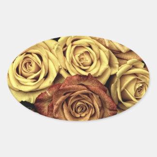 Rosas del vintage pegatina ovalada