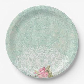 Rosas del vintage plato de papel de 9 pulgadas