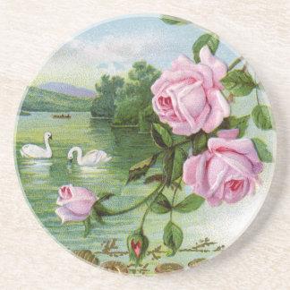 Rosas del vintage posavaso para bebida