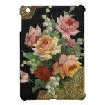 Rosas del vintage y cordón del oro iPad mini funda
