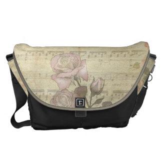 Rosas del vintage y cuenta rosados de la música bolsa de mensajeria