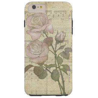 Rosas del vintage y cuenta rosados de la música funda para iPhone 6 plus tough