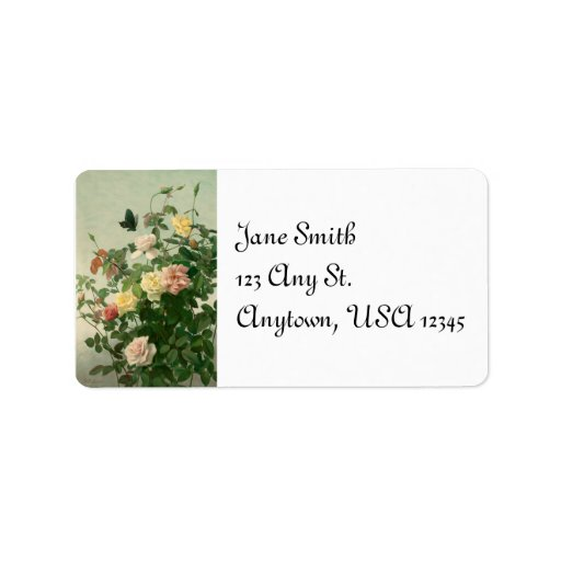 Rosas del vintage y etiqueta de dirección de la