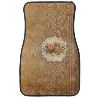 Rosas del vintage y grabado grabado en relieve alfombrilla de auto