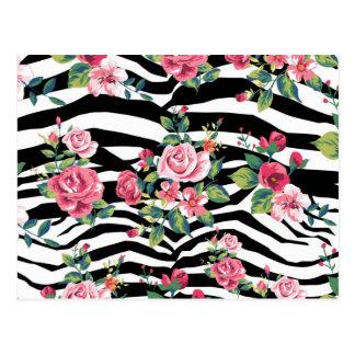 rosas del vintage y modelo de moda de las rayas de postal