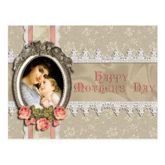 Rosas del vintage y postal del día de madre del