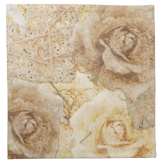 Rosas del vintage y servilletas de los corazones