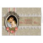 Rosas del vintage y tarjeta del día de madre del