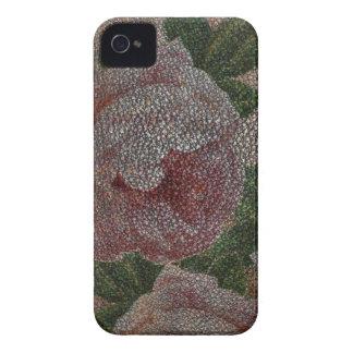 Rosas descolorados del rosa del Victorian y cuero iPhone 4 Case-Mate Fundas