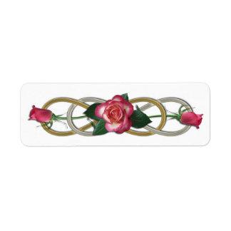 Rosas dobles del oro de la plata del infinito etiqueta de remite
