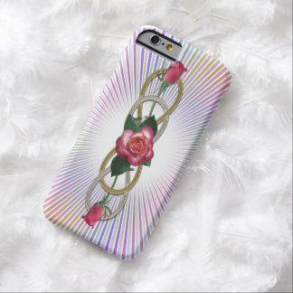 Rosas dobles del oro de la plata del infinito + su funda para iPhone 6 barely there