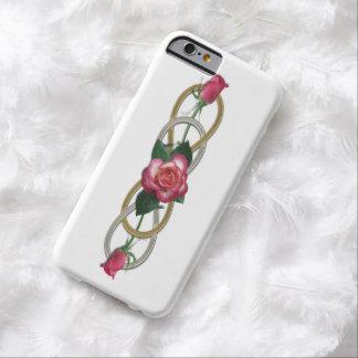 Rosas dobles del oro de la plata del infinito + su funda de iPhone 6 barely there