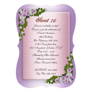 Rosas e hiedra de la lavanda de la invitación del