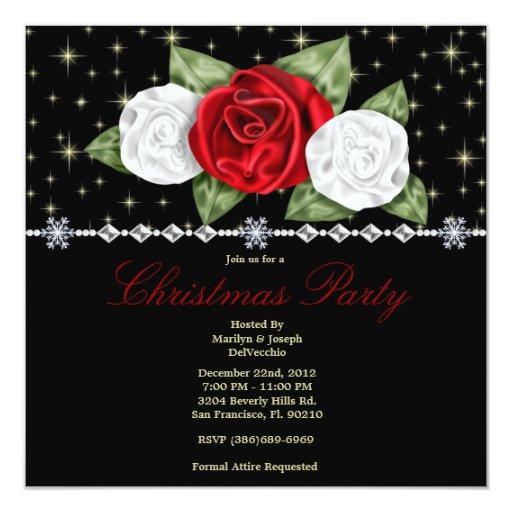 Rosas elegantes del satén y fiesta de Navidad Invitación Personalizada