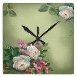 Rosas elegantes del vintage de Sabby Reloj De Pared