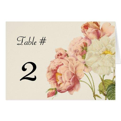 Rosas elegantes del vintage que casan número de la tarjeta pequeña
