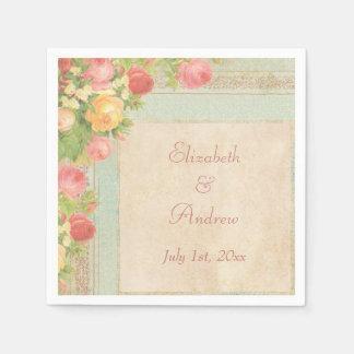 Rosas elegantes del vintage que casan servilletas servilleta desechable