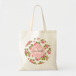 Rosas elegantes femeninos del vintage con el monog bolsas