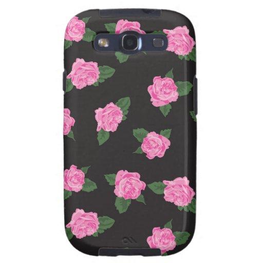 Rosas elegantes florales lamentables de las flores galaxy SIII protector
