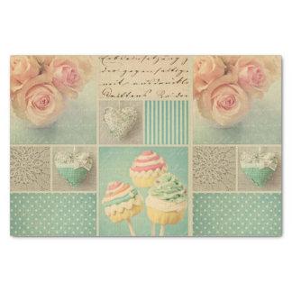 rosas elegantes lamentables del collage del rosa papel de seda pequeño