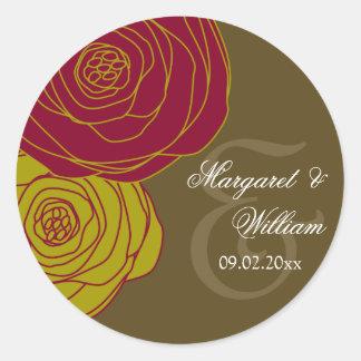 Rosas elegantes pegatina redonda