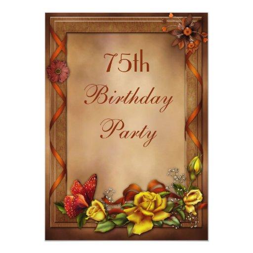 """Rosas elegantes y 75.a fiesta de cumpleaños de la invitación 5"""" x 7"""""""