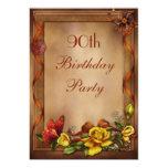Rosas elegantes y 90.a fiesta de cumpleaños de la invitación 12,7 x 17,8 cm