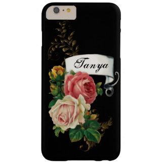 Rosas elegantes y hojas del oro personalizadas funda de iPhone 6 plus barely there