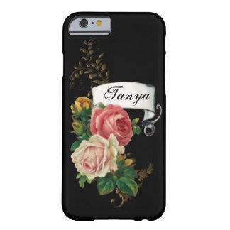 Rosas elegantes y hojas del oro personalizadas funda para iPhone 6 barely there