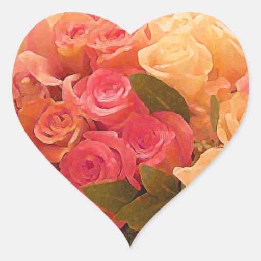 Rosas en art_ pegatina en forma de corazón