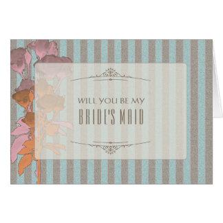 Rosas en el lino - tarjeta de la criada de la novi
