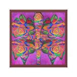 Rosas en extracto de la mariposa impresión en lona