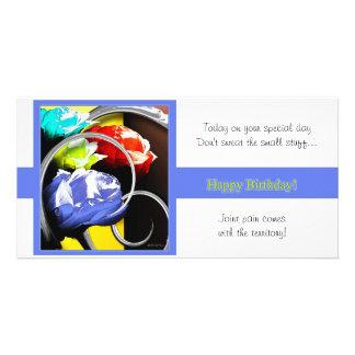 Rosas en feliz cumpleaños abstracto tarjeta personal