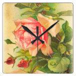 Rosas en la floración reloj cuadrado