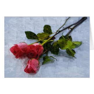 Rosas en la nieve tarjeta de felicitación