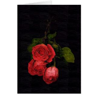 Rosas en negro tarjeta de felicitación