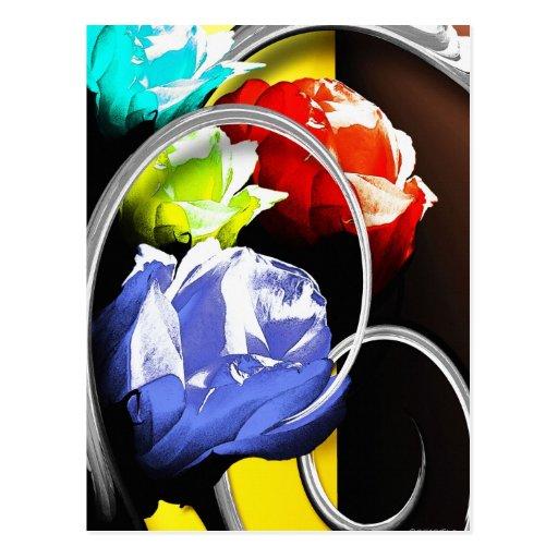 Rosas en postales abstractas